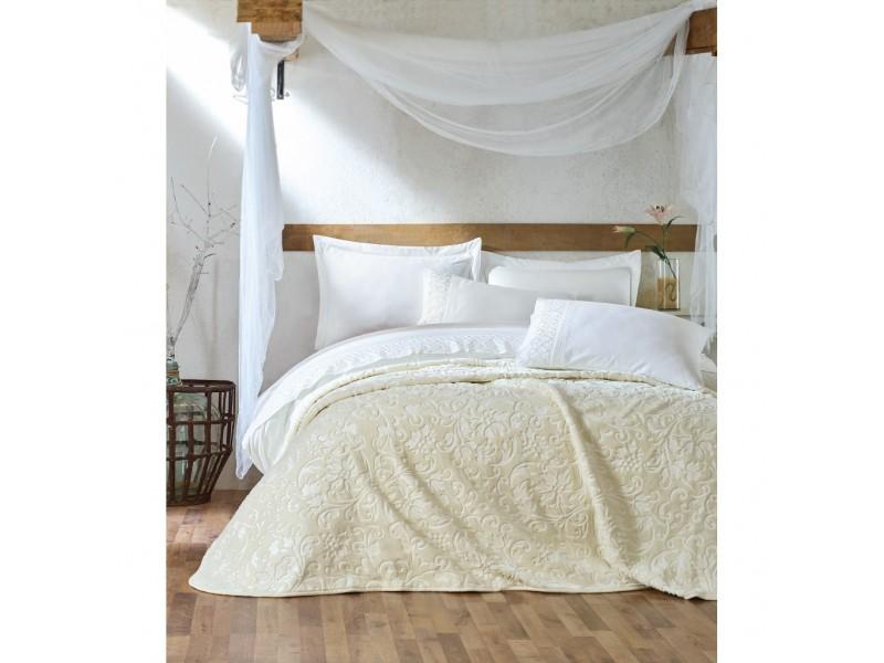 Двоен спален комплект с одеяло ENBROSS кремаво