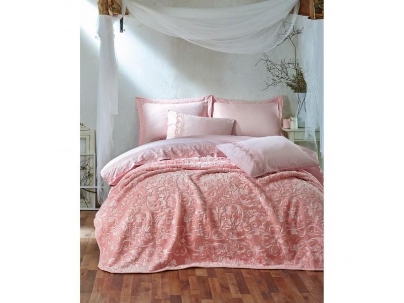 Двоен спален комплект с одеяло ENBROSS розово