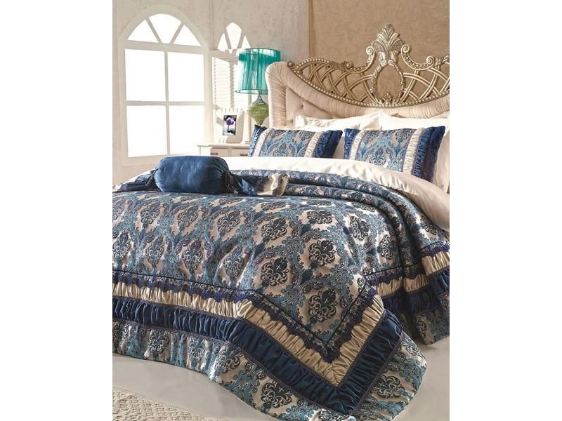 Луксозна жакардова кувертюра CROWN BLUE