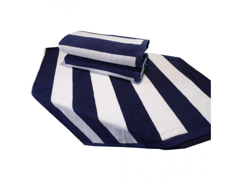 Плажна кърпа 100% памук синьо-бяло 100х180 см.