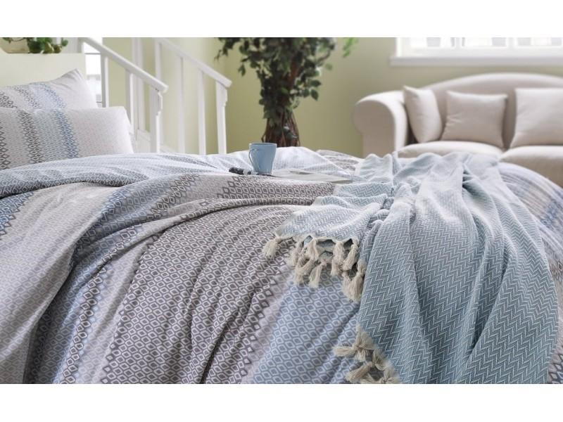 Двоен спален комплект + кувертюра + пике MAXI -син