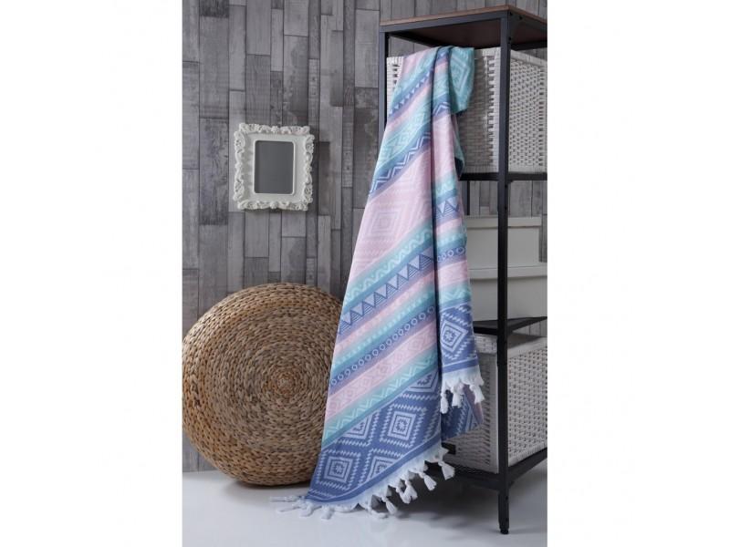 Плажно одеяло (пещемал) 190х220 см. -синьо