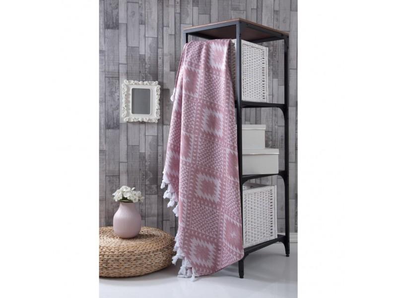 Плажно одеяло (пике ) 190х220 см. -РОЗОВО
