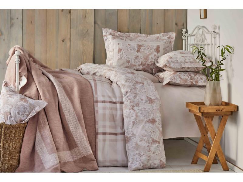 Двоен спален комплект + одеяло PLAID пудра