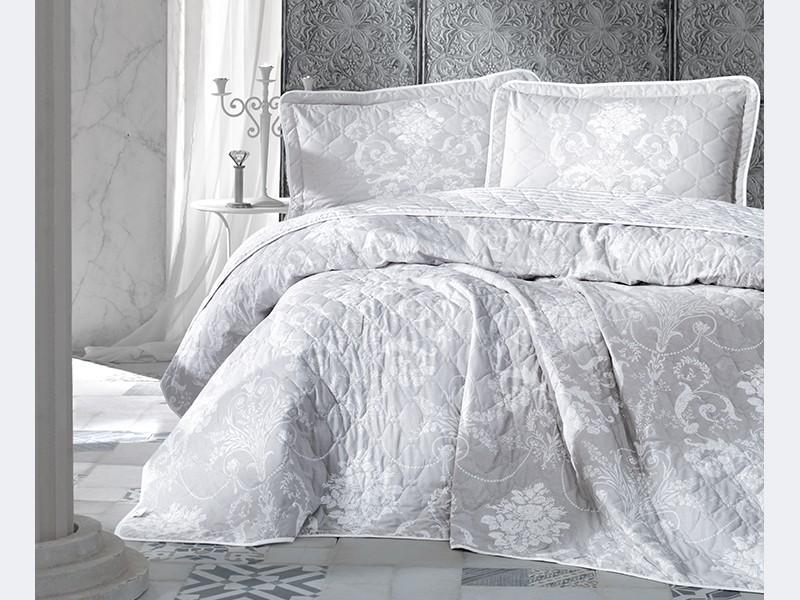 Покривка за легло, двойна - модел ALONE - сива гама