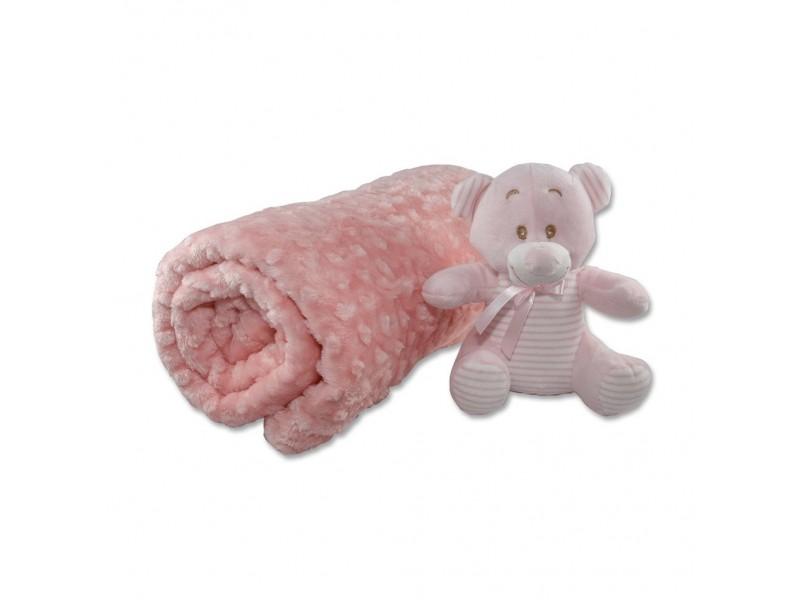 Бебешко одеяло 100х120см, РОЗОВО с играчка