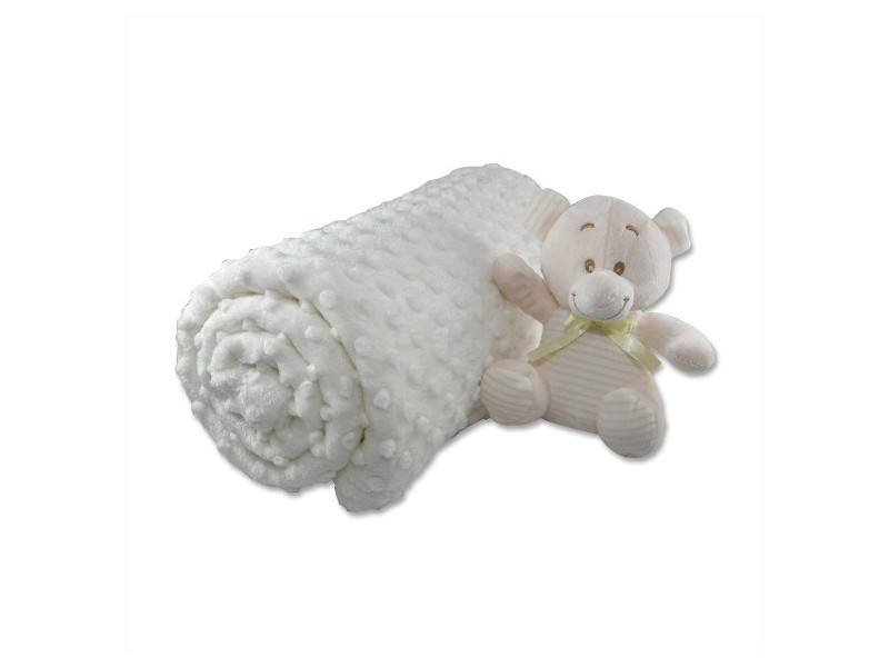 Бебешко одеяло 100х120см, БЯЛО с играчка