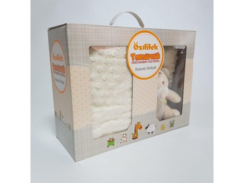 Бебешко одеяло 90 х110см, БЯЛО с играчка