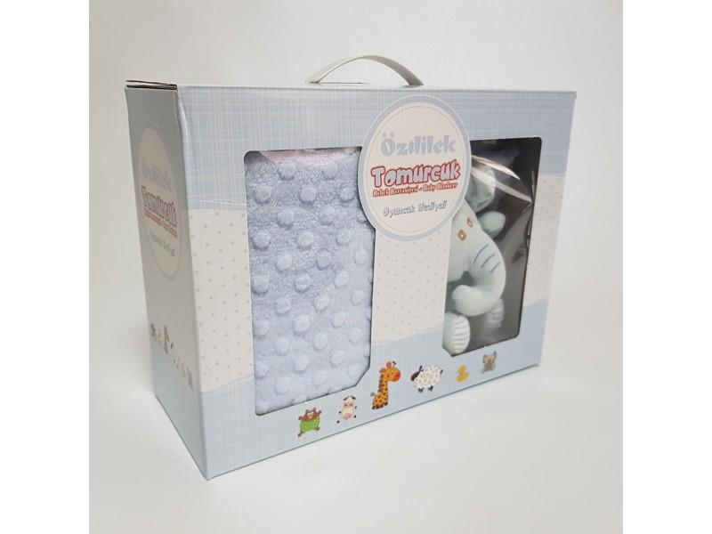 Бебешко одеяло 90 х110см, СИНЬО с играчка