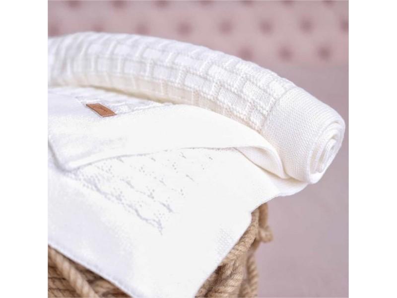 Бебешко одеяло 90 х 90 см. от памук - БЯЛО