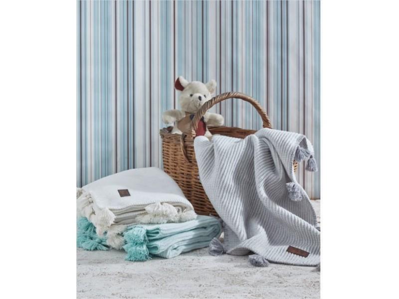 Бебешко одеяло 100х120 см. плетено памучно - СИВО