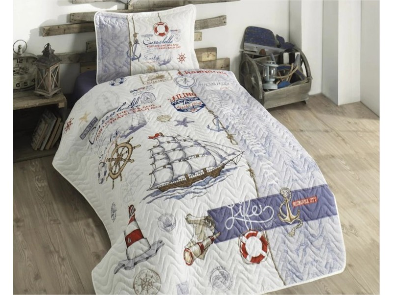 Покривка за детско легло с калъфка Sea Life