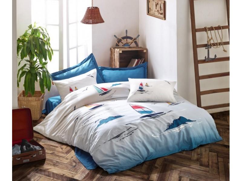 Спален комплект от памук MARITIME син