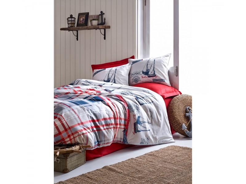 Спален комплект от памук MARITIME червен