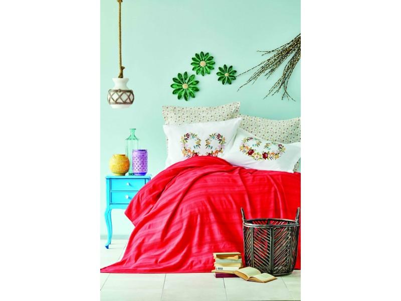 Летен спален комплект от пике + бродирани калъфки