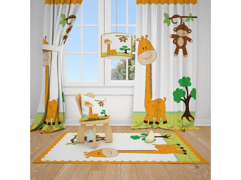 Пердета за детска стая и килим , комплект ЖИРАФЧЕ