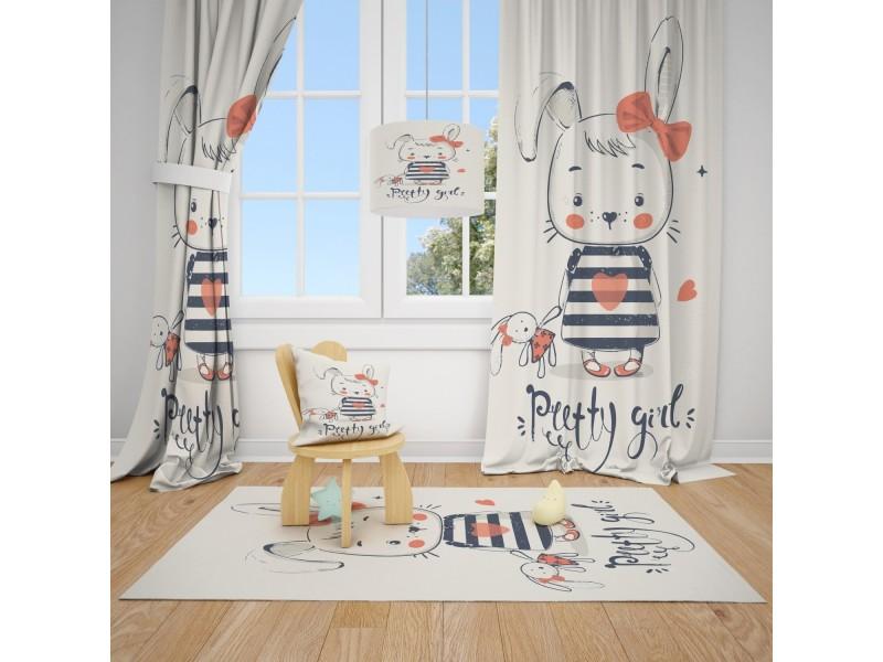Пердета за детска стая и килим , комплект ПАРИЖ