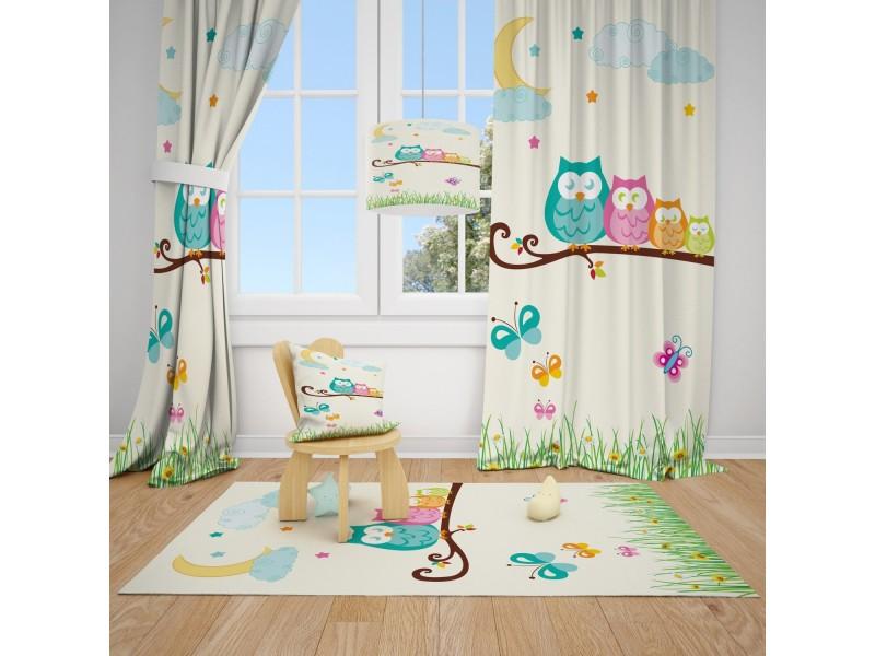 Пердета за детска стая и килим , комплект СОВИЧКИ