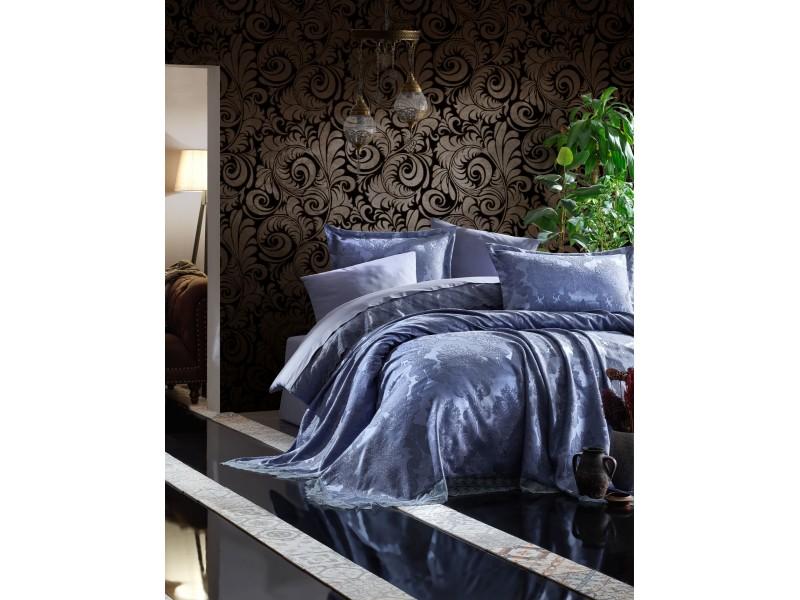 Жакардова кувертюра за спалня MARY синя