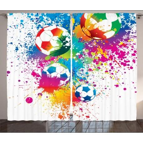 Детски пердета 3D, комплект Football 3