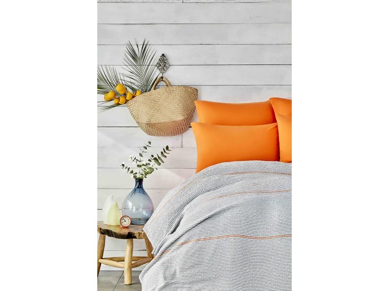 Летен комплект ПИКЕ + чаршафи и калъфки RAPSODY оранжево