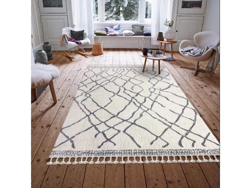 Модерен килим 160х230см. MOROCCO бяло-сиво