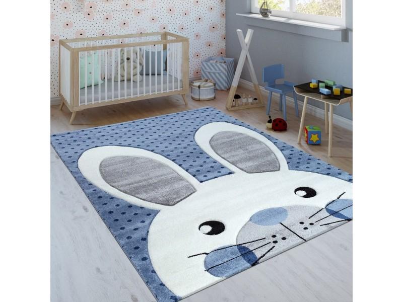 Детски релефен килим 160 х 230 см. Rabbit син