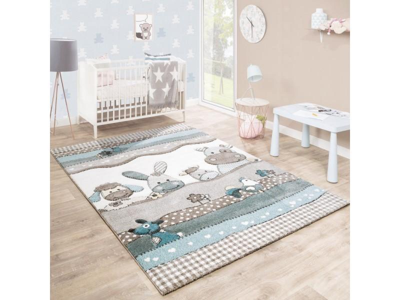 Детски релефен килим 140 х 200 см. FARM син