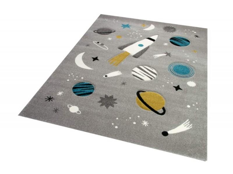 Детски релефен килим 160 х 230 см. КОСМОС сив