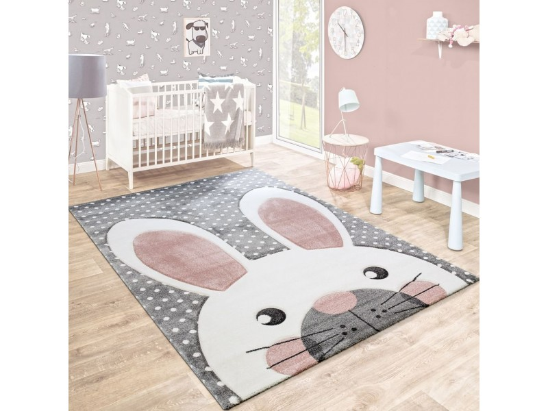Детски релефен килим 160 х 230 см. Rabbit сив
