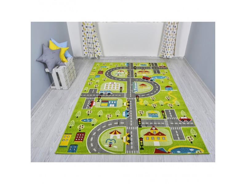 Детски килим за игри 160х230 см. ROADS зелен