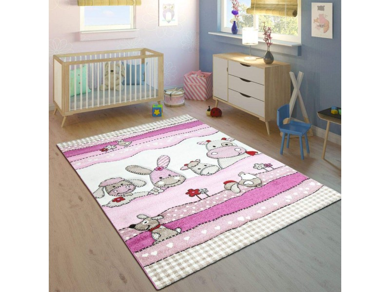 Детски релефен килим 160 х 230 см. FARM розов