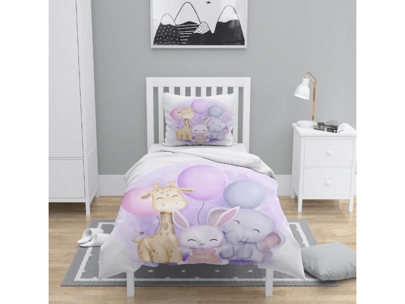 Детски 3D спален комплект ЖИВОТНИ С БАЛОНИ