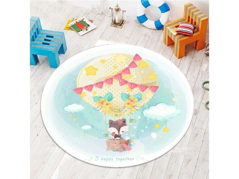 Детски килим 3D принт кръг 150 см. ЛИСИЧЕ В БАЛОН