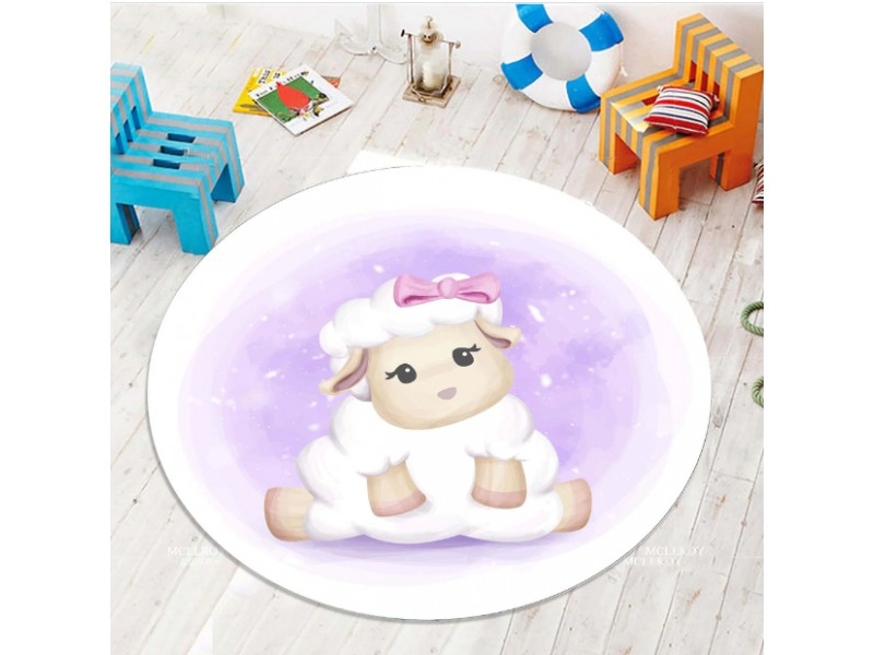 Детски килим 3D принт кръг 150 см. АГЪНЦЕ