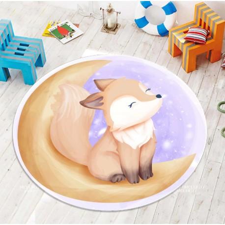 Детски килим 3D принт кръг 150 см. ЛИСИЧЕ С ЛУНА