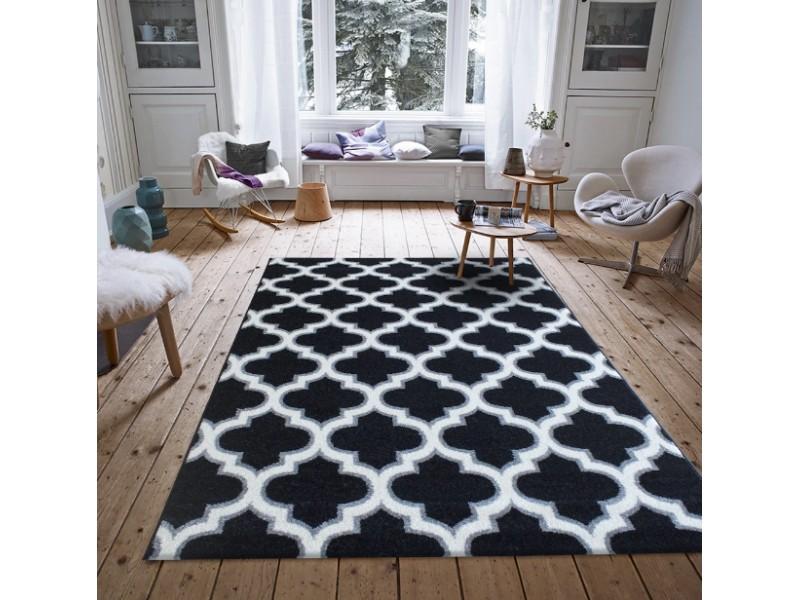 Модерен килим LUNA 120x170 см. черно.бяло-сиво
