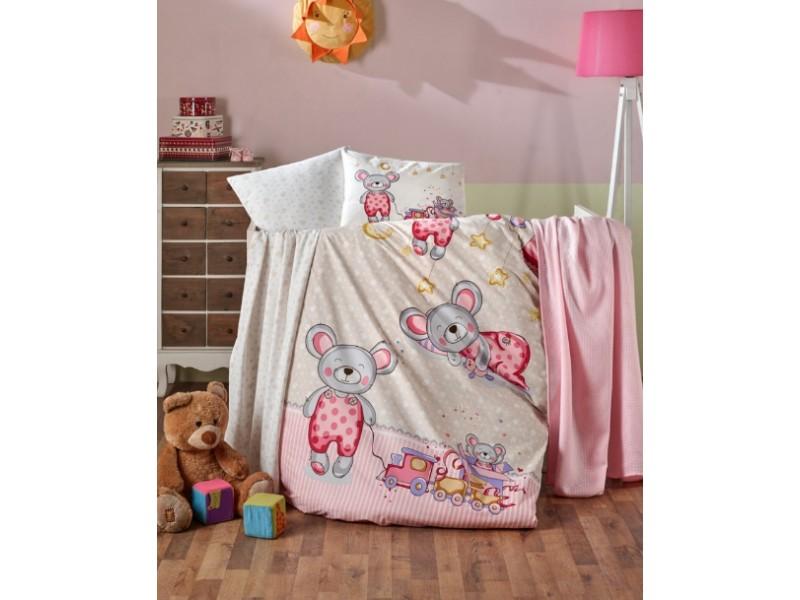 Бебешко спално бельо от 100% памук TEDDY розов