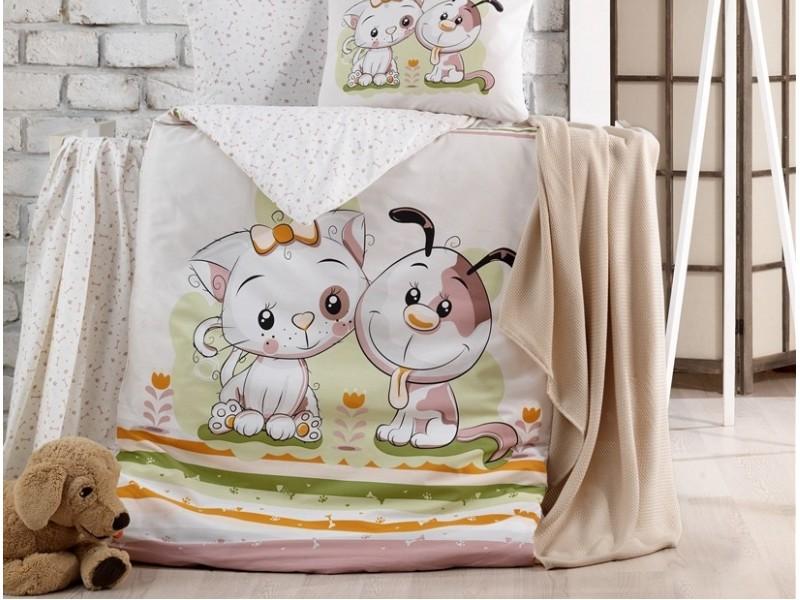 Бебешко спално бельо от 100% памук BESTIES бежов