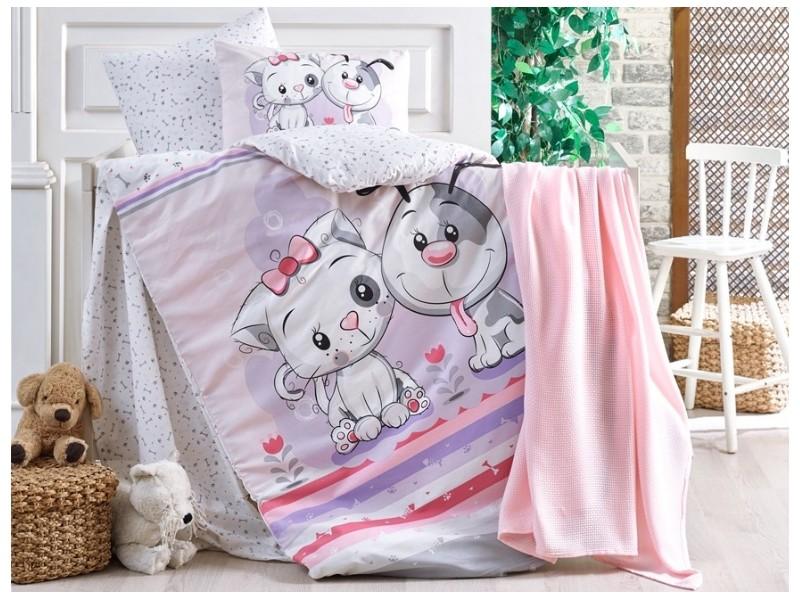 Бебешко спално бельо от 100% памук BESTIES розов
