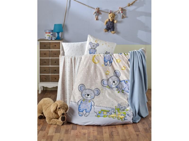 Бебешко спално бельо от 100% памук TEDDY син
