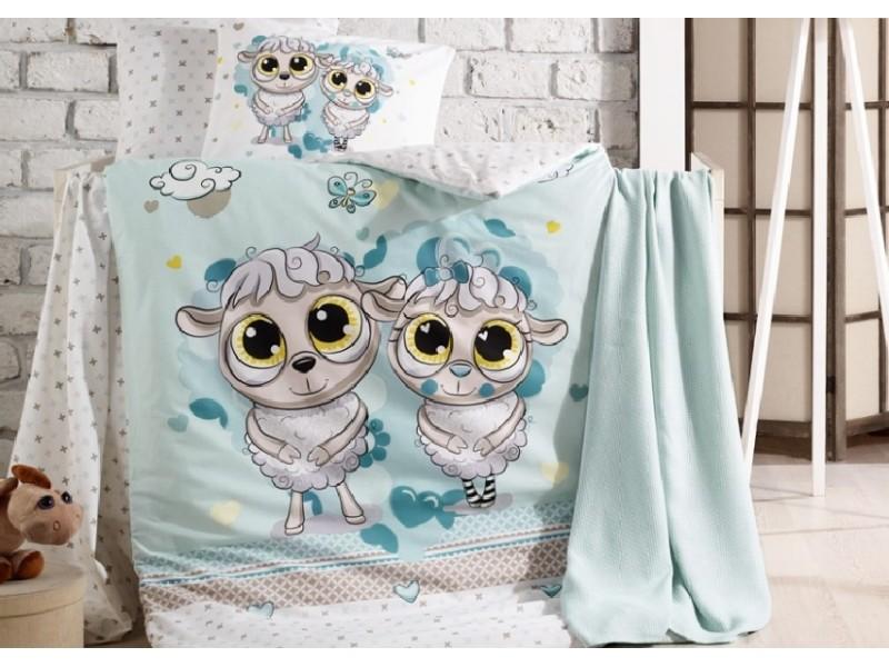 Бебешко спално бельо от памук HAPPY LAMBS син