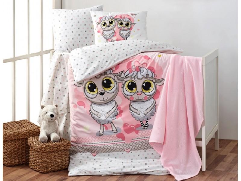 Бебешко спално бельо от памук HAPPY LAMBS розов