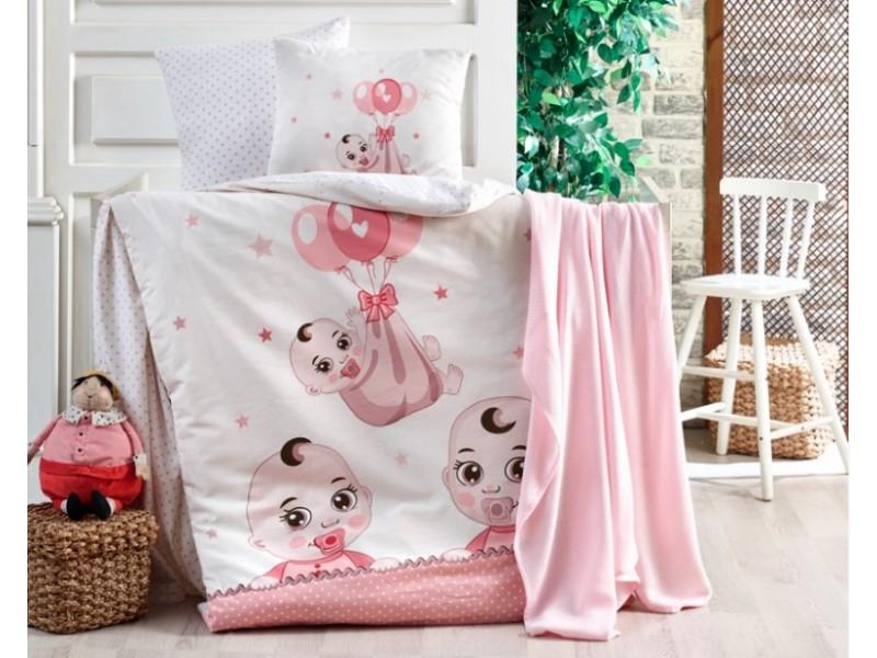 Бебешко спално бельо от памук BABY розово