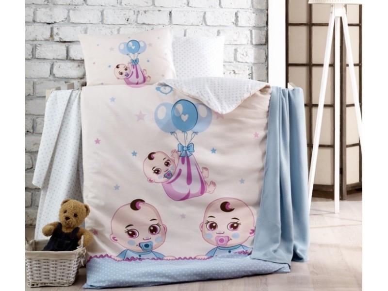 Бебешко спално бельо от памук BABY синьо