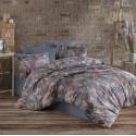 Двоен спален комплект от памук LEAF сива гама, двулицев